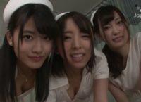 七実りな・神宮寺ナオ・美谷朱里の三人の痴女ナースが患者さんを誘惑して乱交SEXするエロ動画